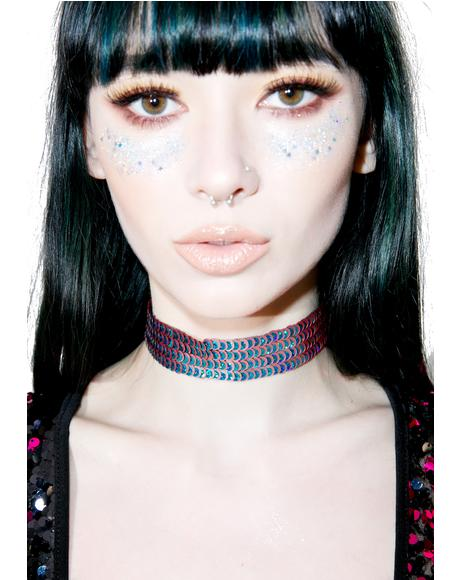 Peacock Sequin Choker