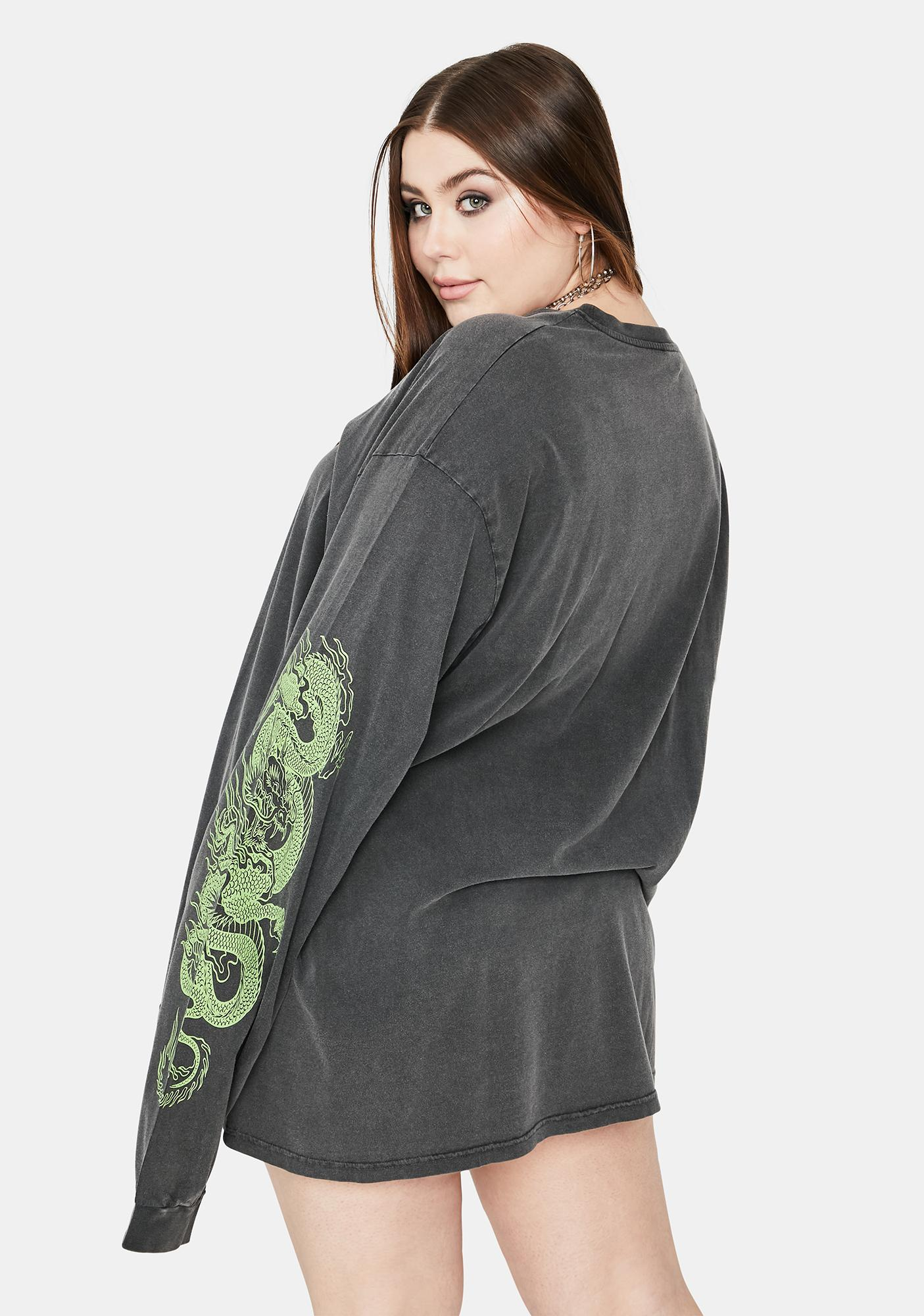 NEW GIRL ORDER Curve Triple Dragon Long Sleeve Tee