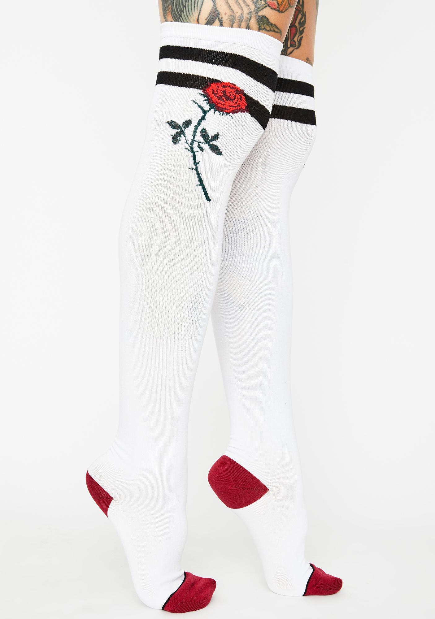 Forbidden Rose Thigh High Socks