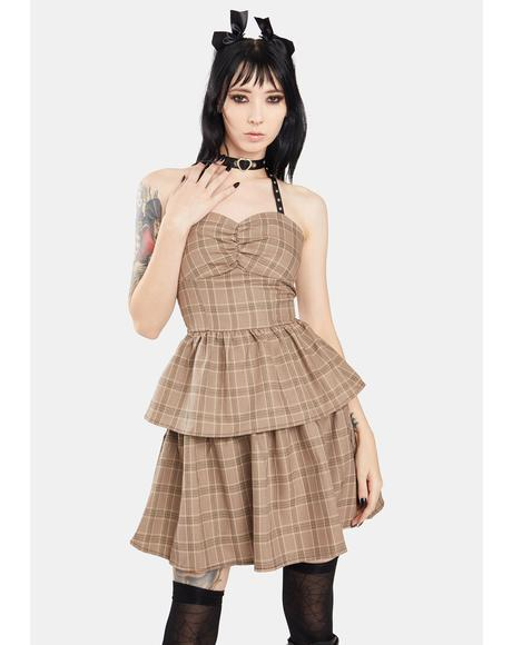 Punk Checkered Layered Corset Mini Dress