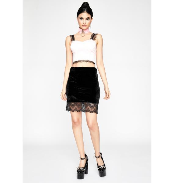 Where Are My Manners Velvet Skirt