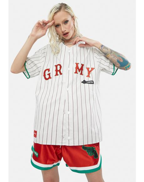 White Striped Baseball Jersey