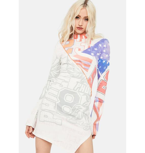 Jaded London Varsity Flag Print Cut & Sew Long Sleeve Jersey Dress