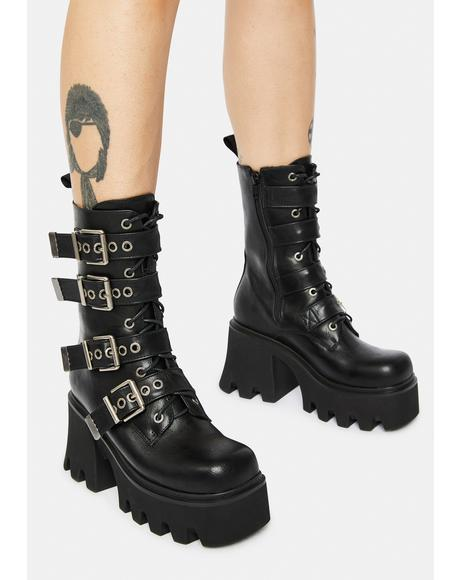 Hysteria Chunky Platform Ankle Boots