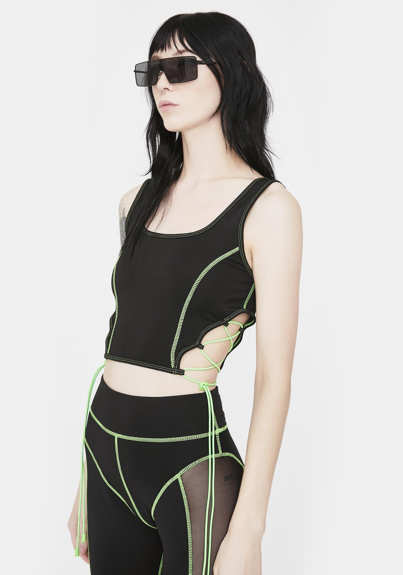 Jaded London Green & Black Lace Up Sports Bra
