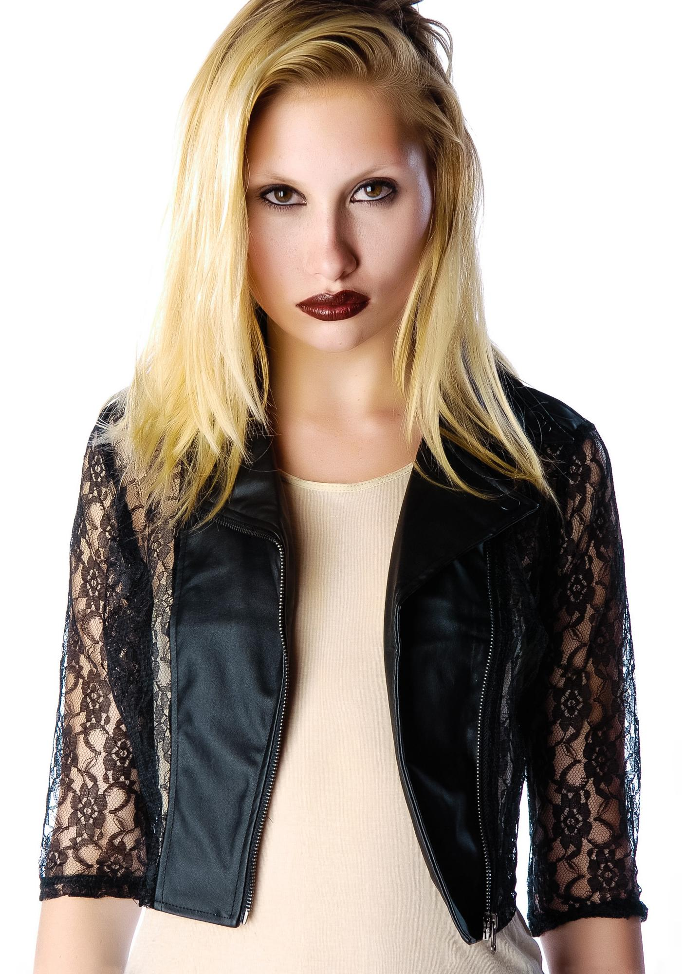 Lip Service Lace Cropped Moto Jacket