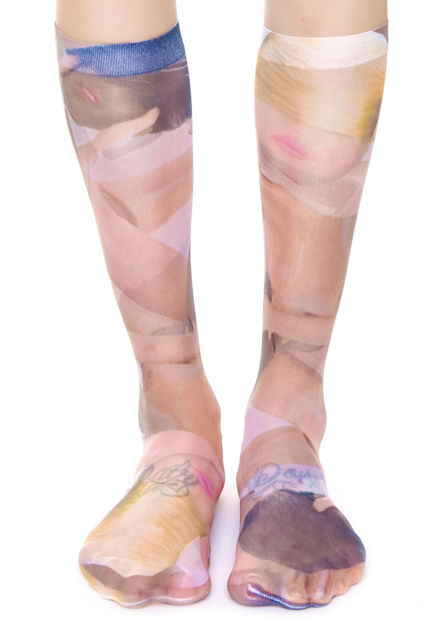 Coveted Society Broken Dolls Sheer Socks