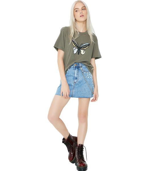 Insight Sasha A-Line Skirt 90s Blue Daisy Meadow