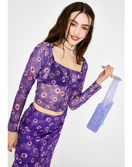 Purple Daisy Janina Mesh Top