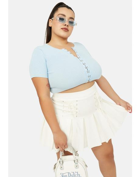 Periwinkle Forever Hooked On Ya Ribbed Crop Tee