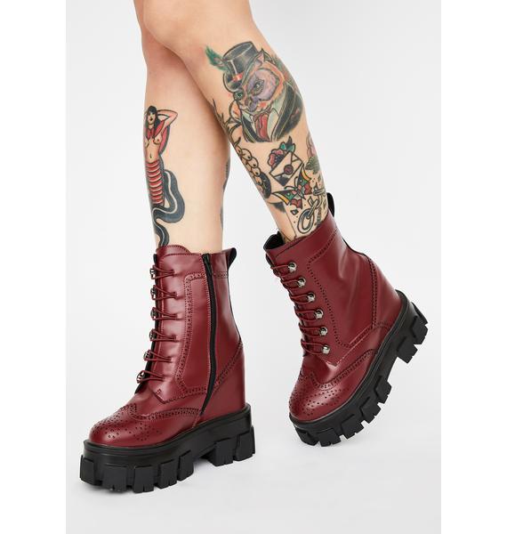 Burgundy Toughest Chick Platform Boots