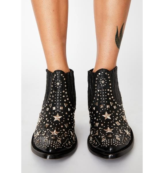 OLD GRINGO Black Metal Star Leather Boots