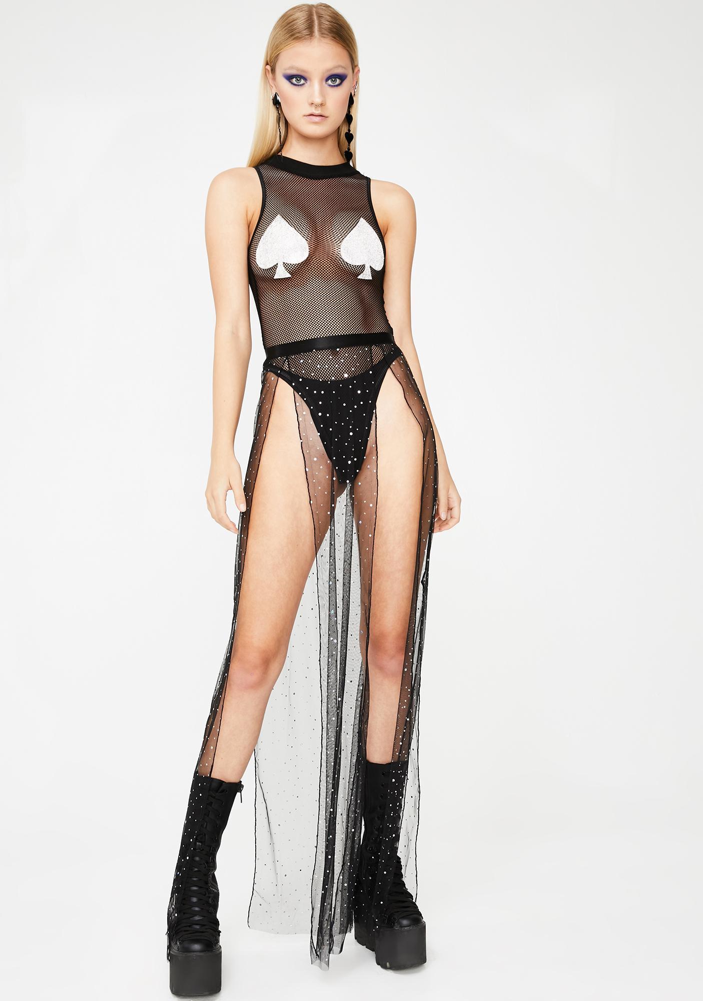 Club Exx Ace Of Spades Fishnet Bodysuit
