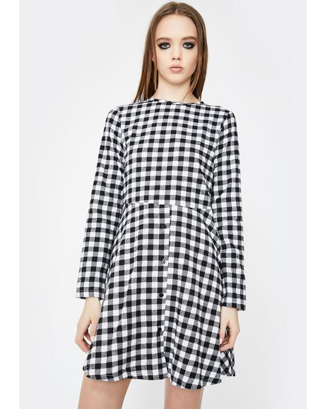 Gingham Check Smock Dress