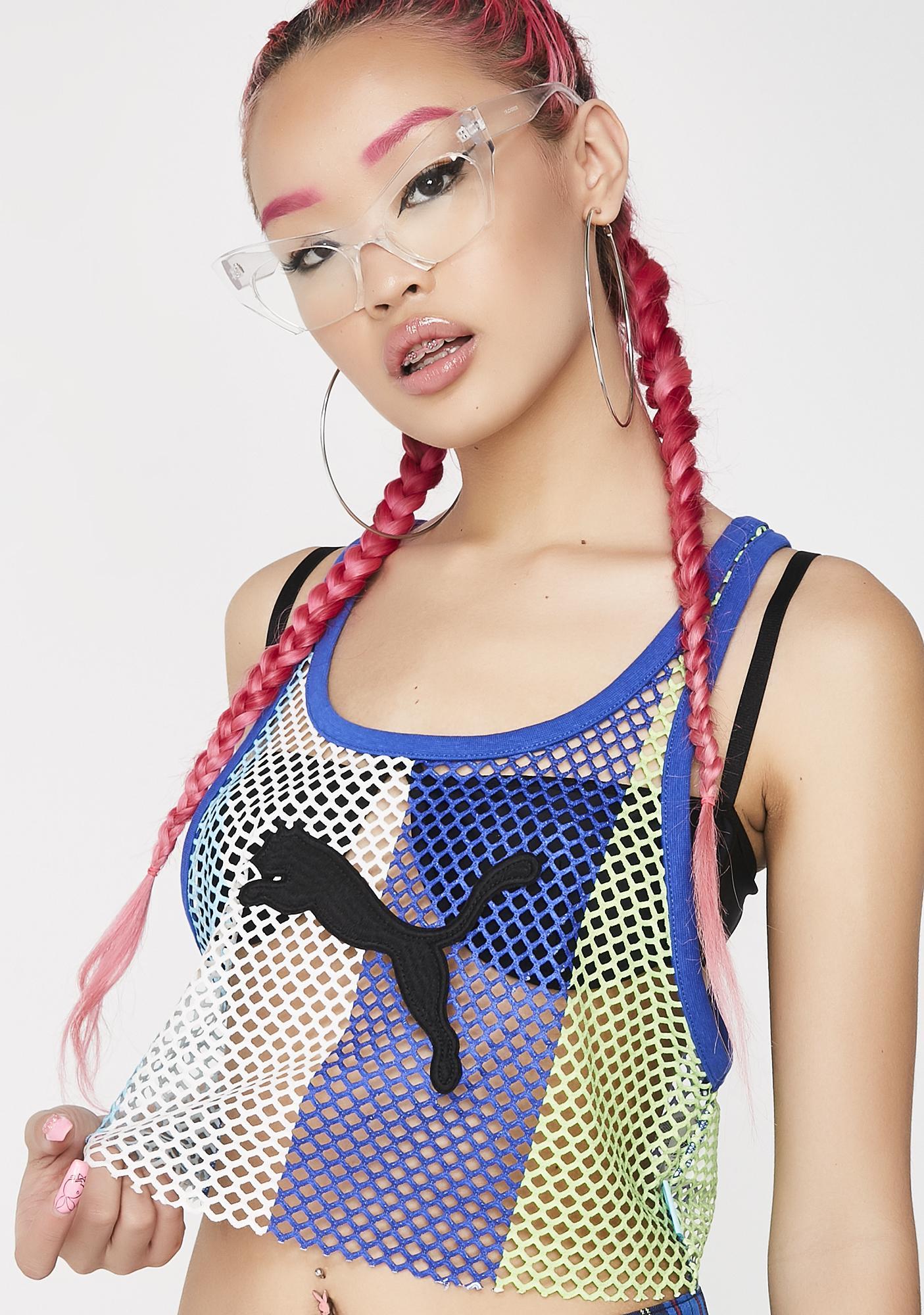 PUMA Bluefish FENTY PUMA By Rihanna Mesh Crop Tank Top