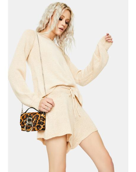 Sand Celeste Knit Shorts Set