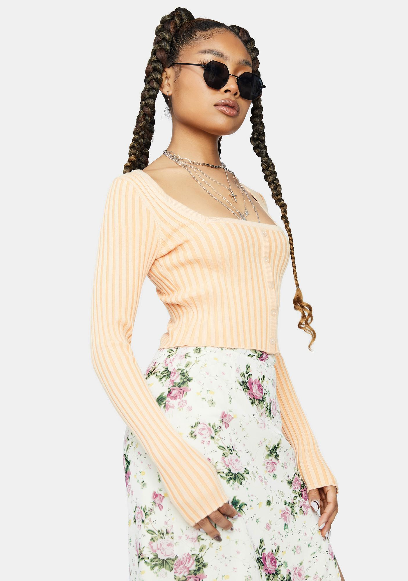 Sherbet Loyal Sweetie Button Up Crop Top