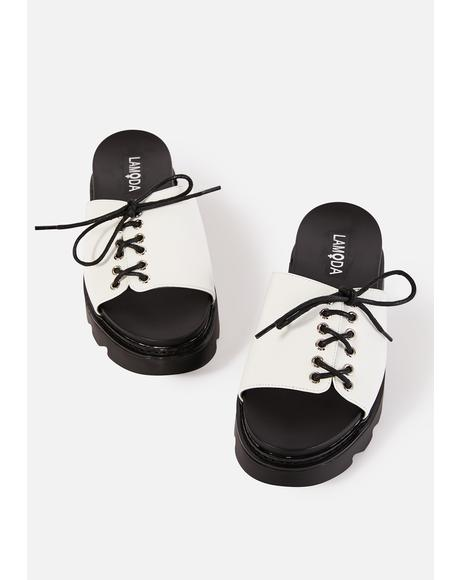 White Punk Picnic Lace Up Slides