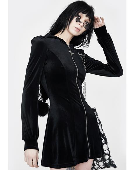 Velvet Zip Up Hooded Dress