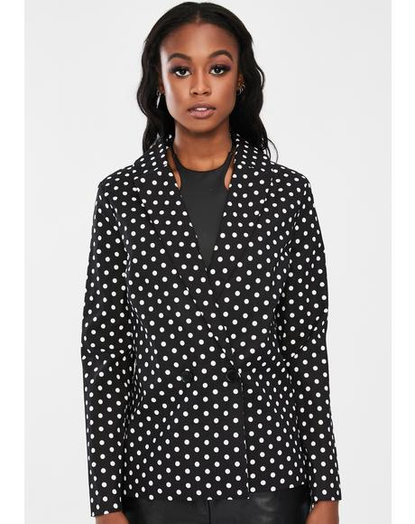 Double Breasted Polka Dot Blazer