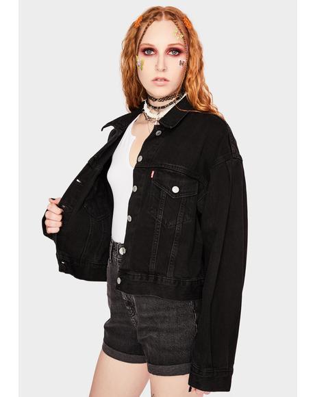 Lady Di Pleated Trucker Jacket