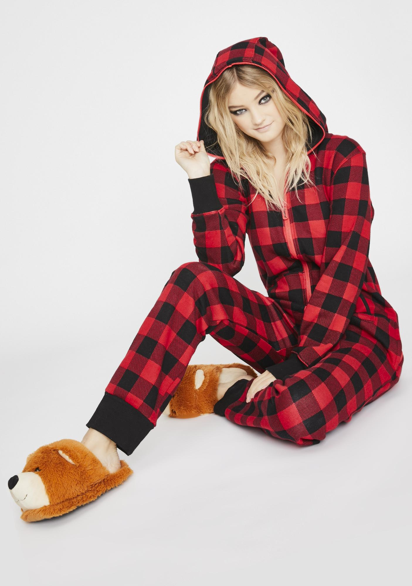 Tipsy Elves Buffalo Plaid Jumpsuit