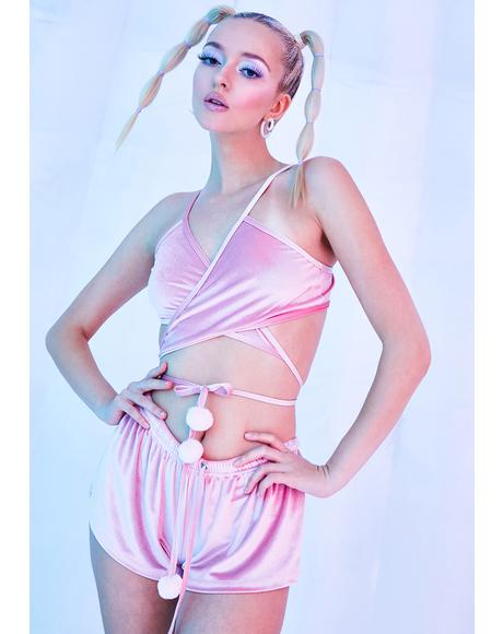 Rave Bunny Velvet Wrap Top