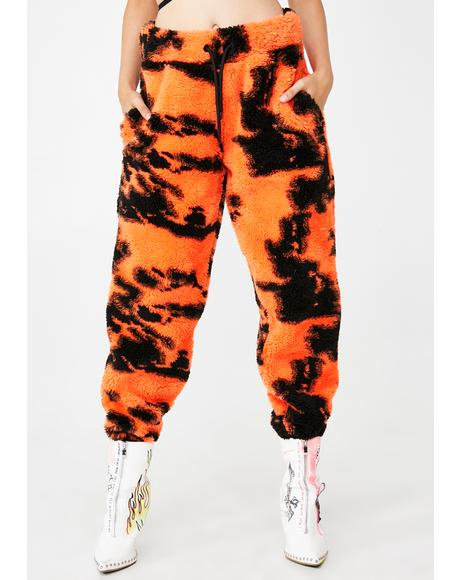Orange Tie Dye Fleece Joggers
