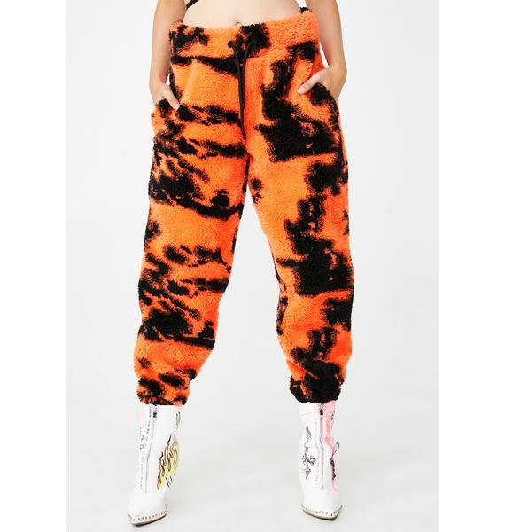Jaded London Orange Tie Dye Fleece Joggers