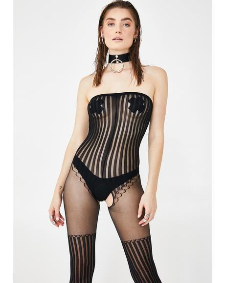 Sassy Circus Striped Bodystocking