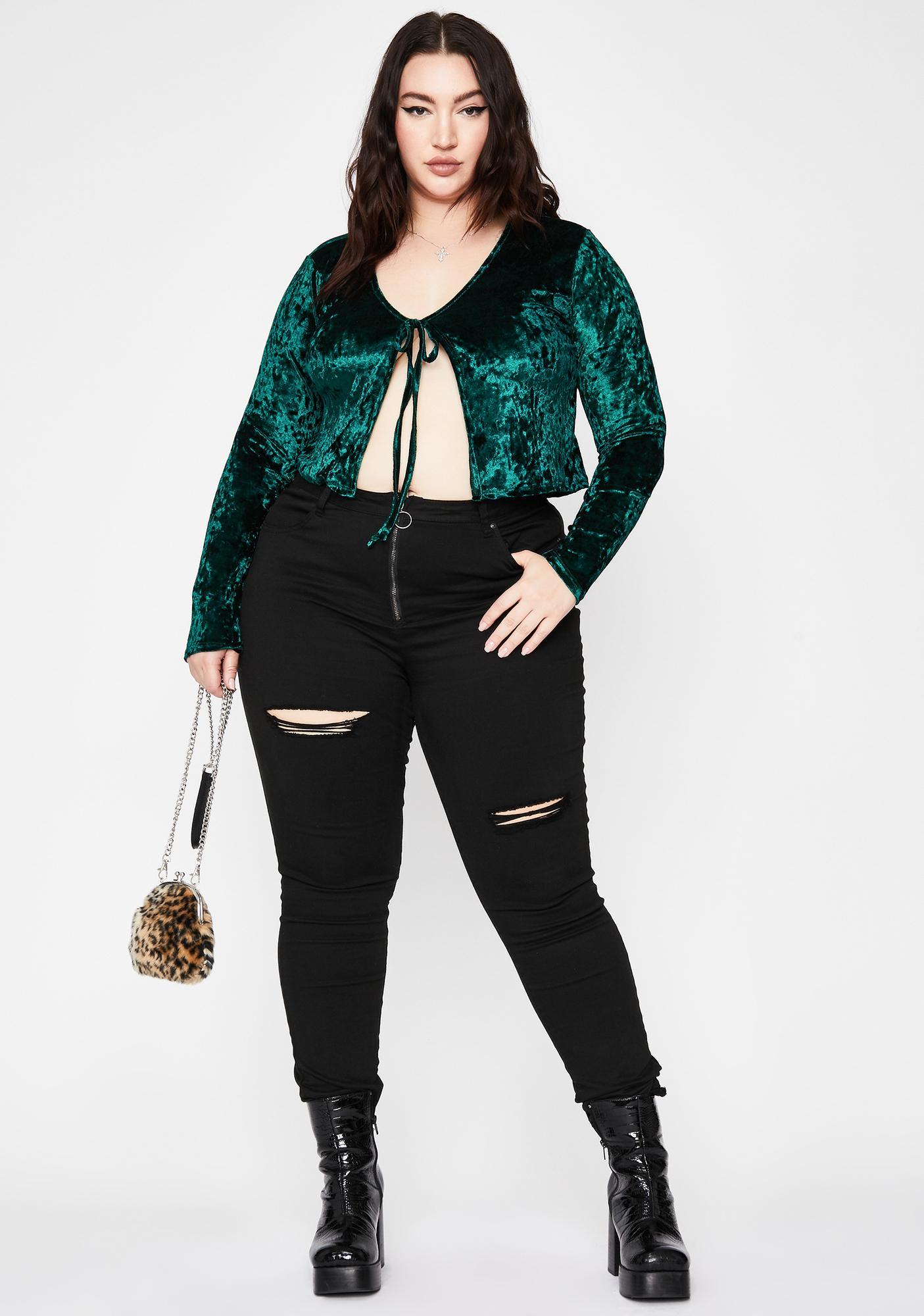 Emerald Crush On Me Velvet Top