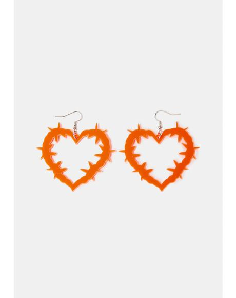 Risky Romance Barbed Wire Heart Earrings