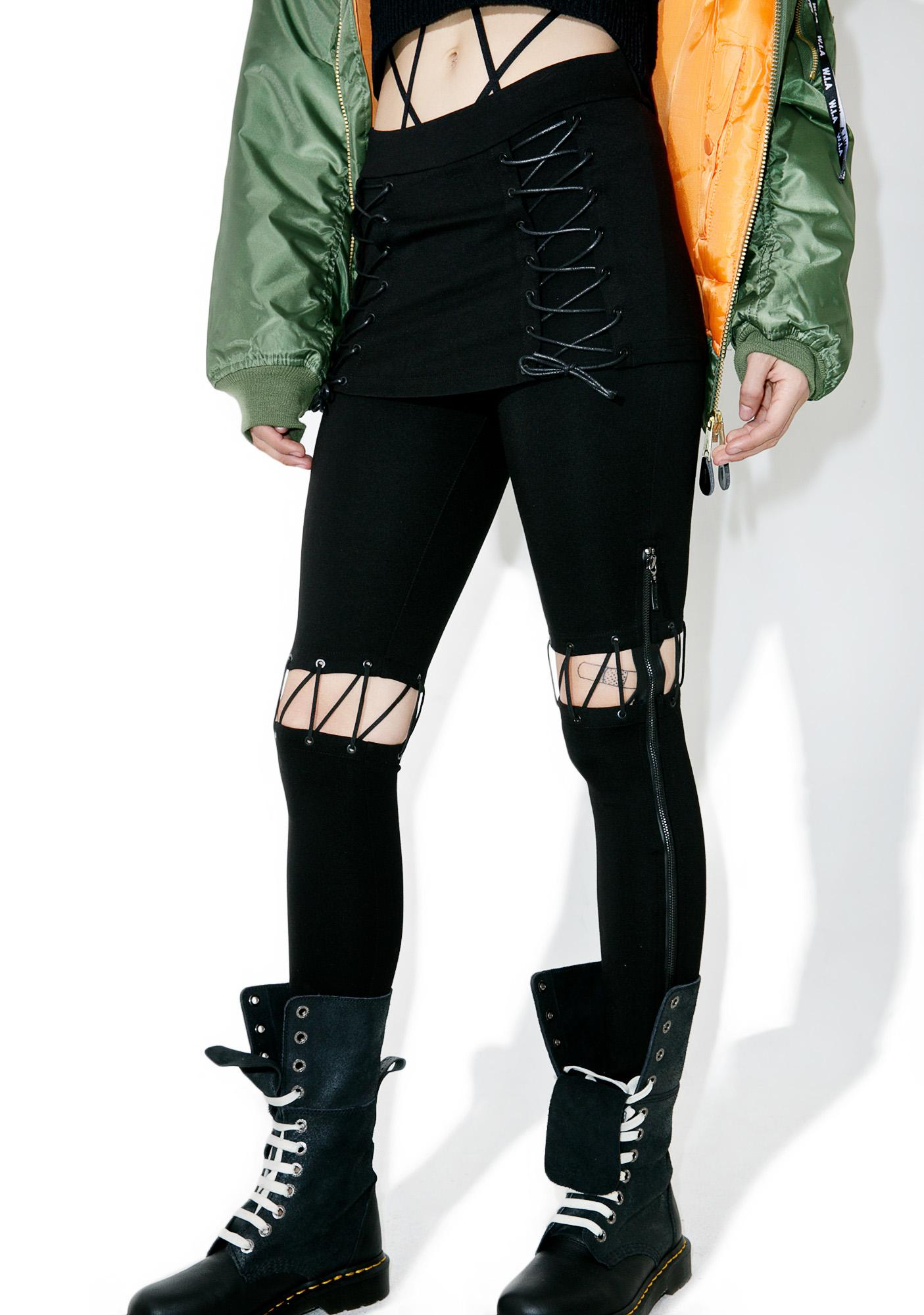 Punk Rave A Different Story Lace-Up Pants