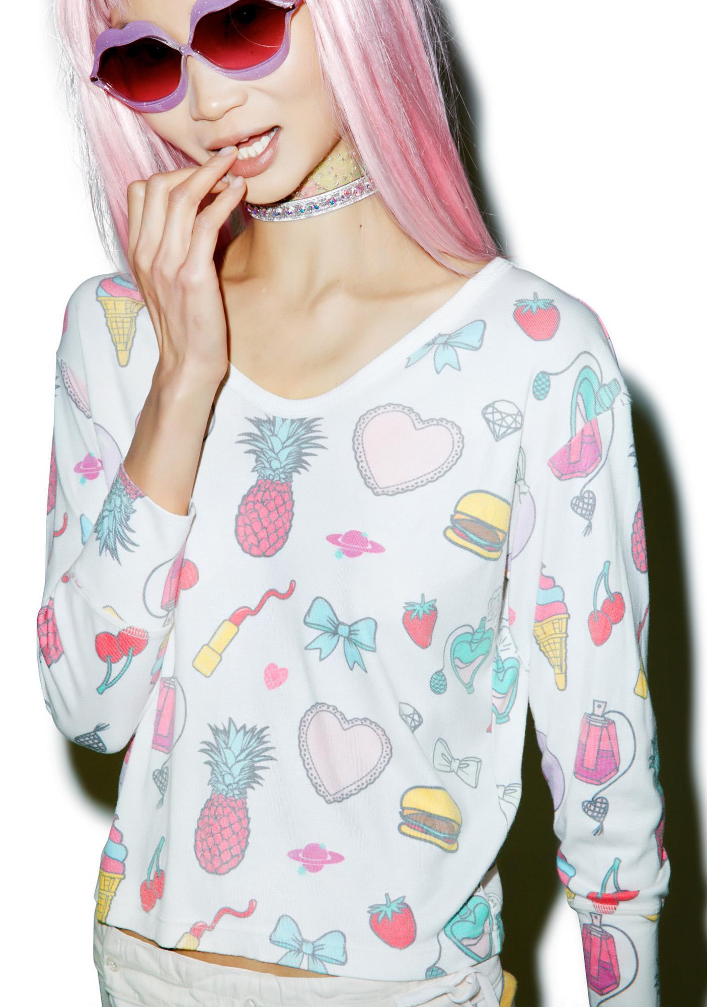 Wildfox Couture Emoji Print Babysitter Tee