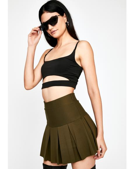 Olive Pink Promise Pleated Skirt