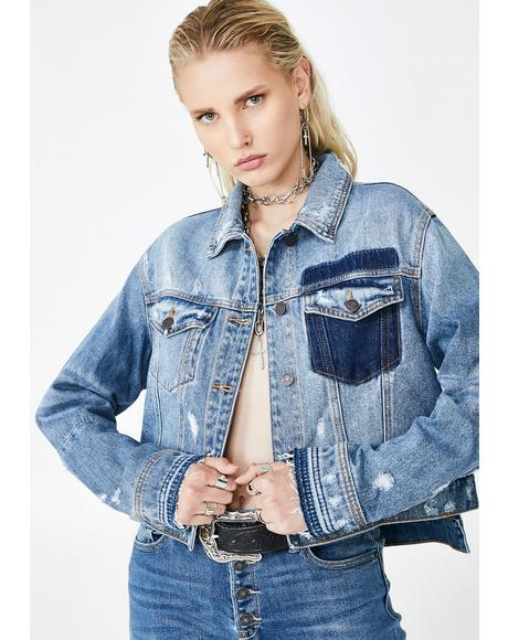 Medium Wash Cropped Detailed Jacket
