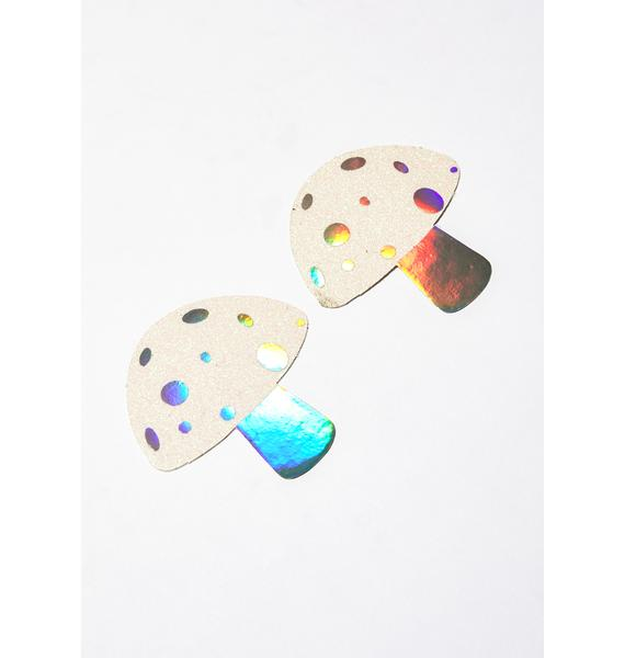 Neva Nude Holographic Glitter Shroom Pasties