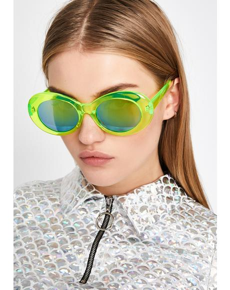 Liquid Neon Oval Sunglasses