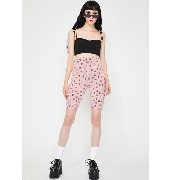 Daisy Street Pink Floral Biker Shorts