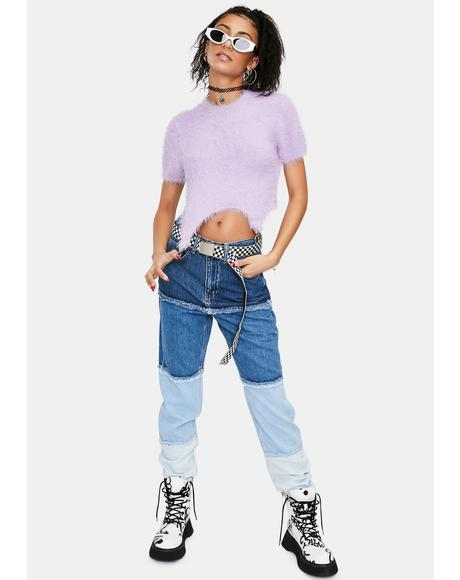 Dimmer Paneled Ombre Mom Jeans
