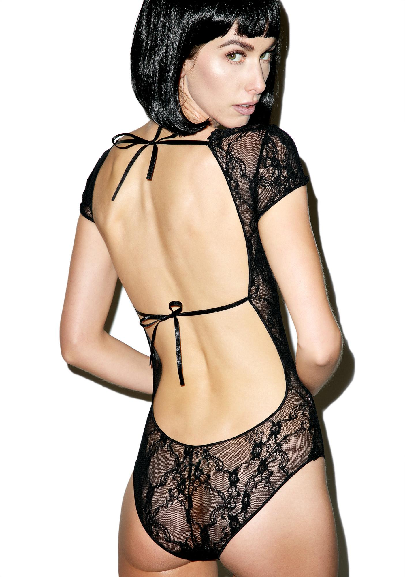 Pluck Me Lace Backless Teddy