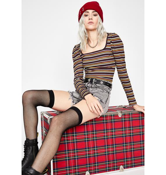 Berry Dazed Disposition Striped Top