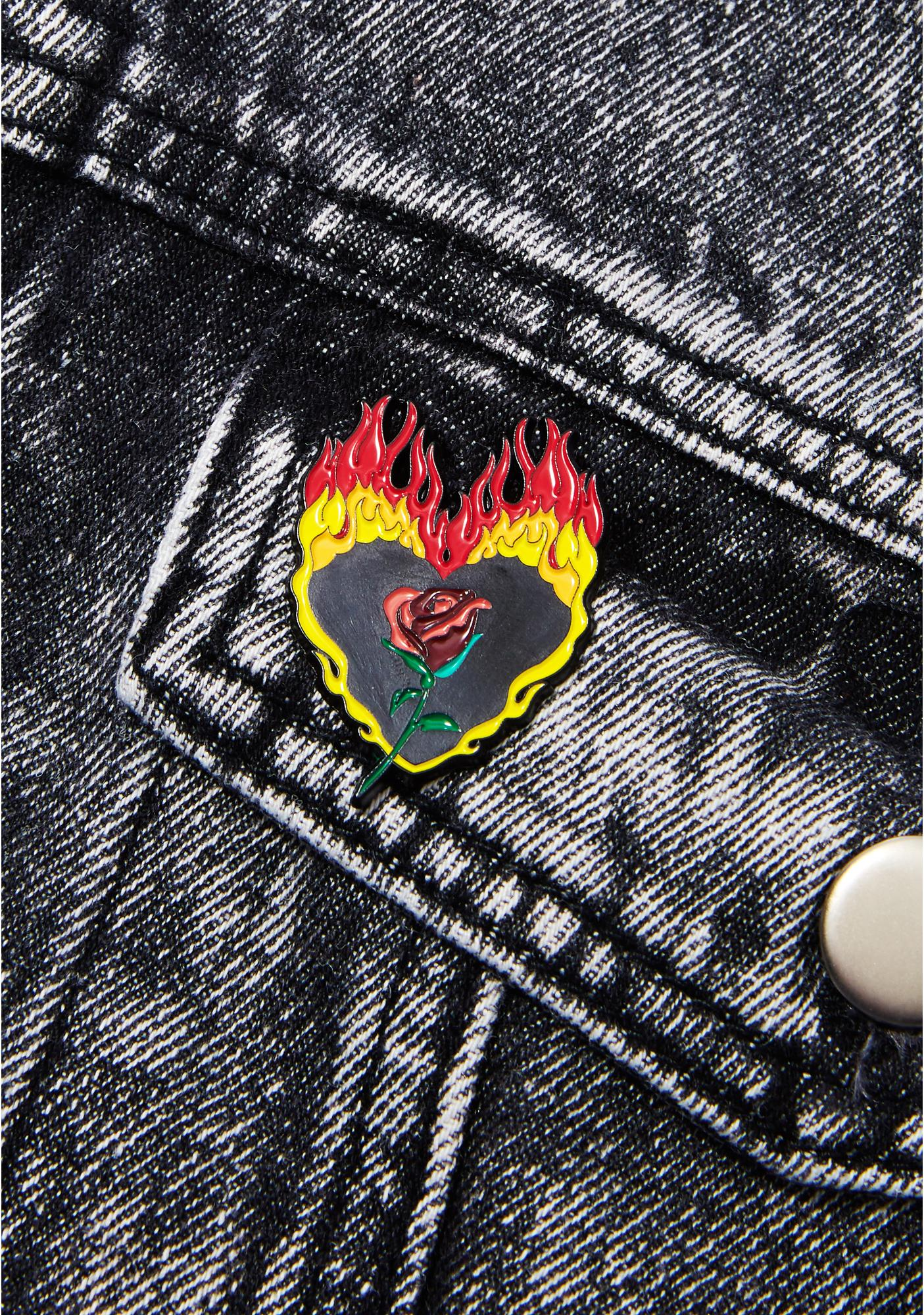 Laser Kitten Flaming Rose Pin