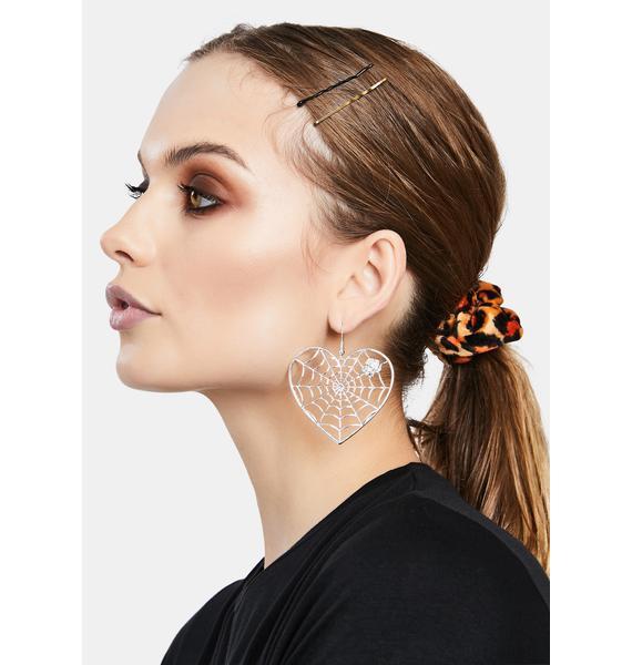 Spider In Love Drop Earrings