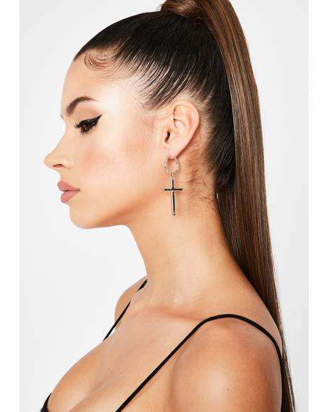 Posh Prayerz Cross Earrings