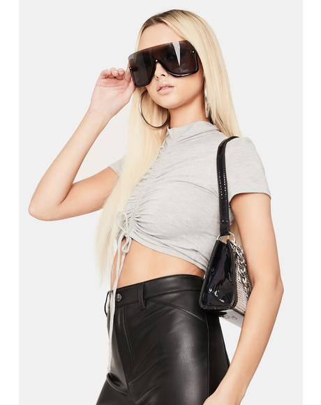 Heather Don't Mind Me Ruched Crop Top