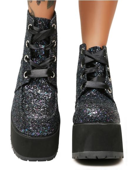 Black Jewels Glitter Nosebleed Boots