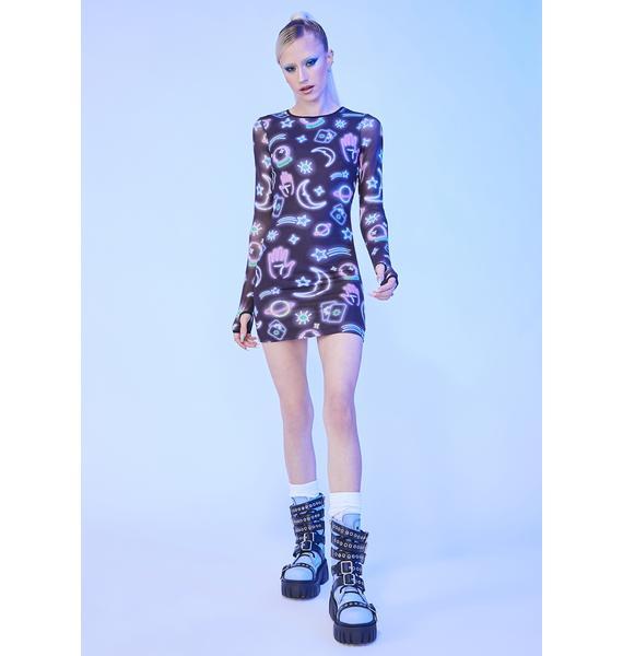 HOROSCOPEZ Sign Of The Times Mesh Mini Dress