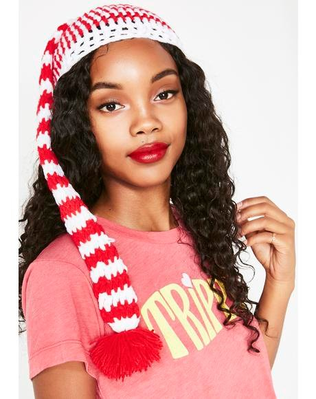 Candy Cane Bae Crochet Beanie