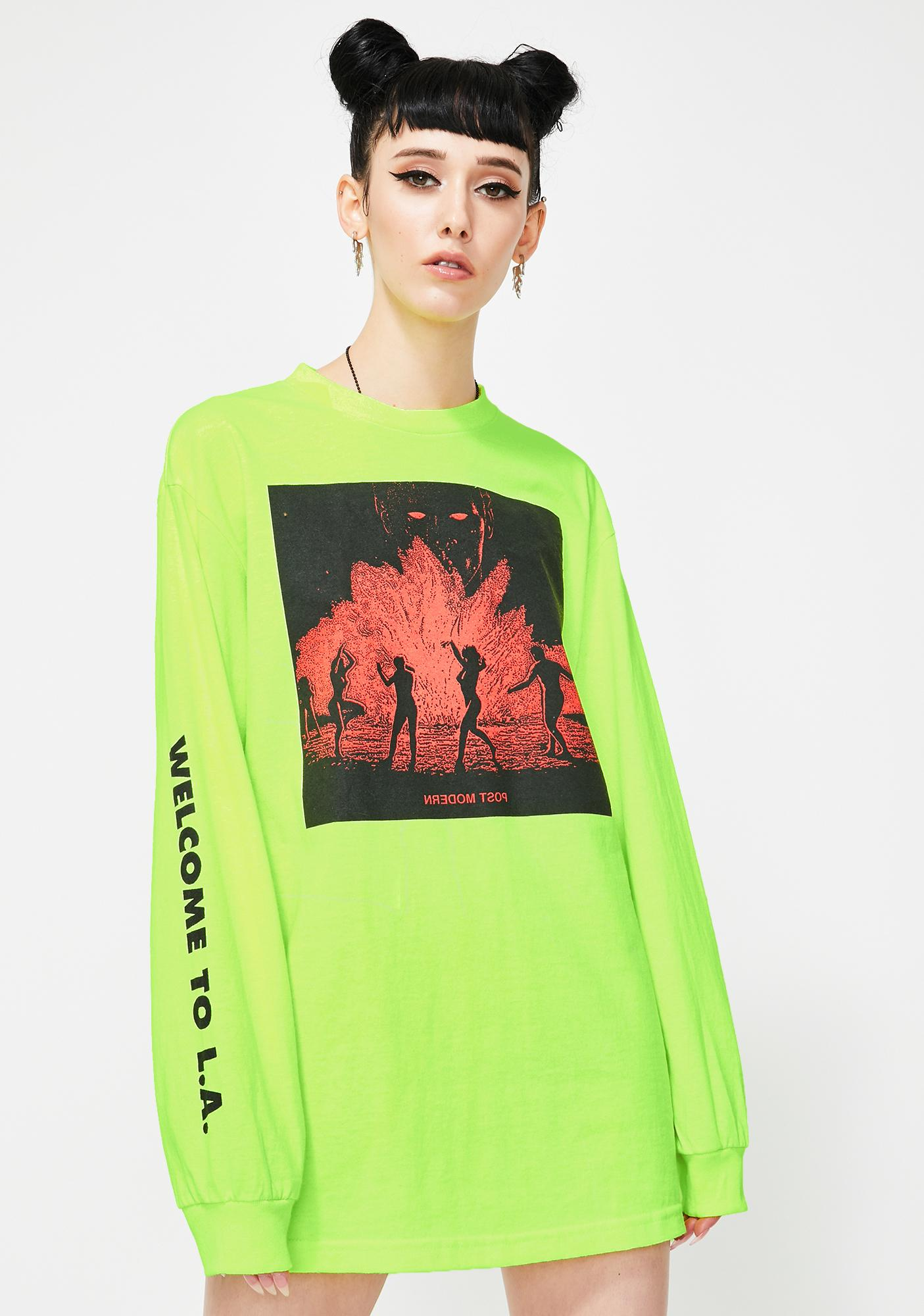 BOW3RY Neon Post Modern Long Sleeve Graphic Tee